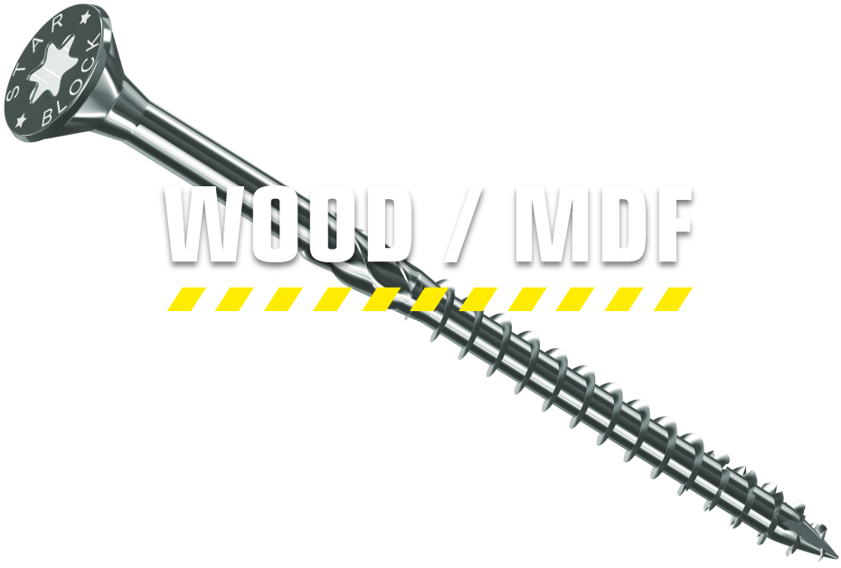 Starblock Wood Screws designed specifically for fastening wood to wood